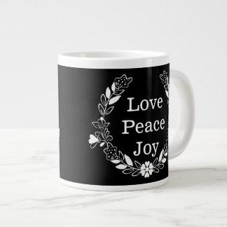 Love Peace Joy Floral Wreath Christmas 20 Oz Large Ceramic Coffee Mug