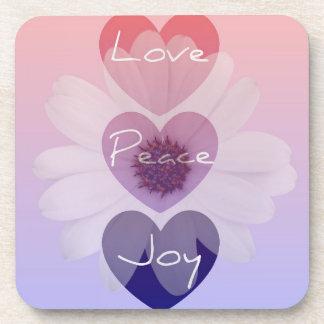 Love, Peace, Joy Flower Coaster Set