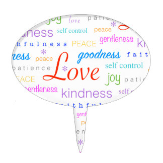 Love Peace Joy Fruit of Spirit Gifts Cake Topper