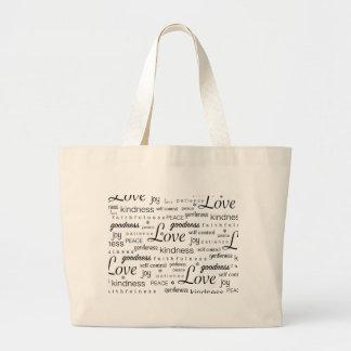 Love Peace Joy Fruit of the Spirit Black White Large Tote Bag