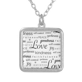 Love Peace Joy Fruit of the Spirit Black White Square Pendant Necklace