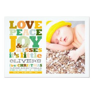 Love Peace Joy Fun Baby First Christmas Photo Card