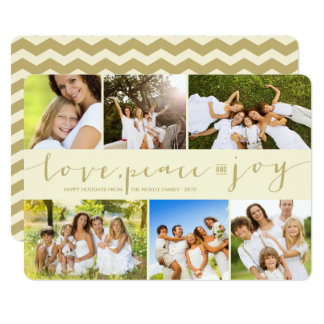Love Peace Joy Gold 6 Photo Collage Holiday Card