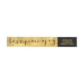 Love Peace Joy Gold Foil Holiday Address Label