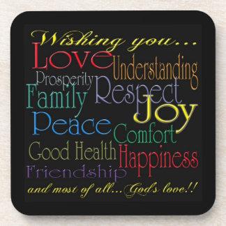 Love Peace Joy Happiness Cork Coaster