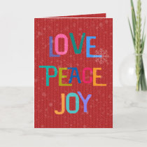 LOVE PEACE JOY Holiday Wishes Colorful Text