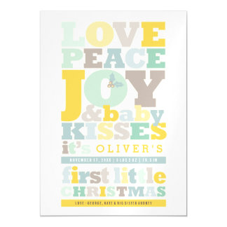 Love Peace Joy Kisses Baby First Christmas Card