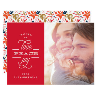 Love Peace Joy Lettering Holiday Photo Card