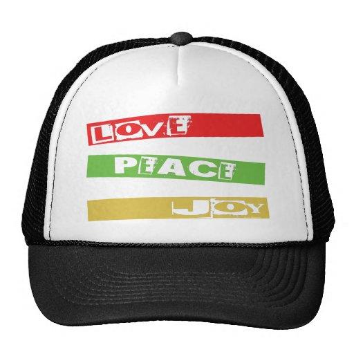 LOVE PEACE JOY MESH HATS