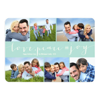 Love Peace Joy Modern Holiday Photo Collage Card
