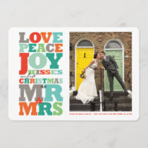 Love Peace Joy Mr & Mrs First Christmas Photo Card
