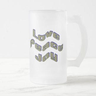 Love Peace Joy 16 Oz Frosted Glass Beer Mug