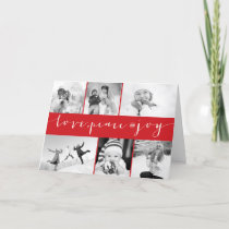 Love Peace Joy Multi Grid Holiday Photo Greetings
