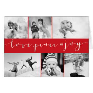 Love Peace Joy Multi Grid Holiday Photo Greetings Card