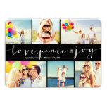 Love Peace Joy Multi Grid Holiday Photo Greetings Personalized Invitation