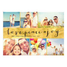 Love Peace Joy Multi Grid Holiday Photo Greetings Personalized Announcement