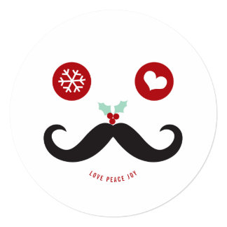 Love Peace Joy Mustache Smiley Holiday Photo Card