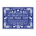 Love Peace, Joy papel picado blue Christmas 5x7 Paper Invitation Card