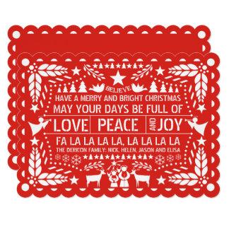 Love Peace, Joy papel picado red Christmas Card