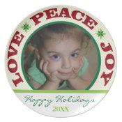 Love peace & Joy Photo Christmas Treat Plate plate