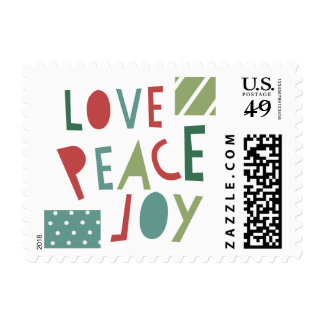 Love Peace Joy Red Green Christmas Postage Stamp