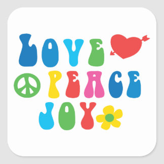 Love Peace Joy Square Stickers, Glossy Square Sticker