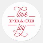 LOVE PEACE JOY to you Holiday Sticker