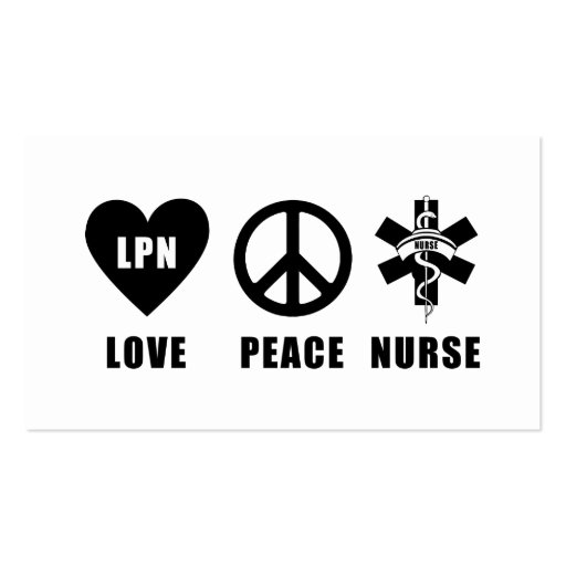Love Peace LPN Business Cards