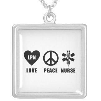 Love Peace LPN Square Pendant Necklace