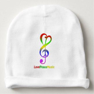 Love peace music hippie treble clef baby beanie