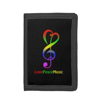 Love peace music hippie treble clef black trifold wallet