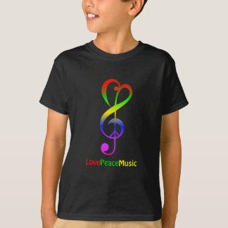Love peace music hippie treble clef kids shirt