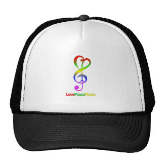 Love peace music hippie treble clef trucker hat