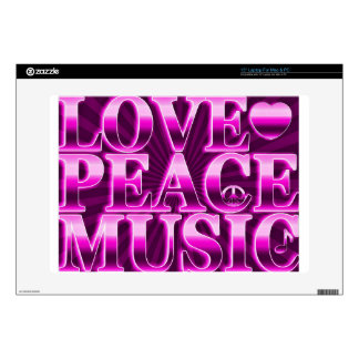 Love, Peace, Music Laptop Skin  for Mac & PC