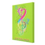 Love Peace Music Splatter swirls flowers birds Gallery Wrapped Canvas