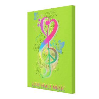 Love Peace Music Splatter swirls flowers birds Canvas Print
