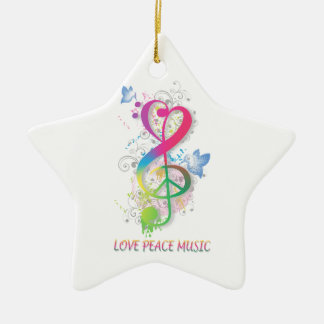 Love Peace Music Splatter swirls flowers birds Ceramic Ornament