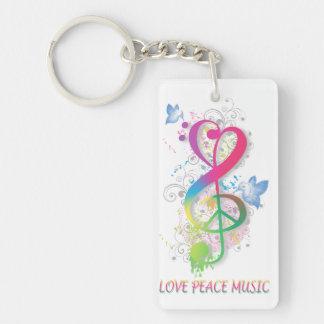 Love Peace Music Splatter swirls flowers birds Keychain