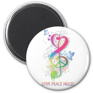 Love Peace Music Splatter swirls flowers birds Magnet