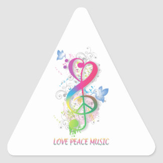 Love Peace Music Splatter swirls flowers birds Triangle Sticker