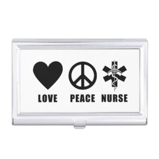 Love Peace Nurse Business Card Holders