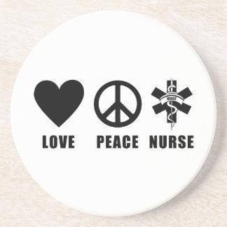 Love Peace Nurse Beverage Coasters