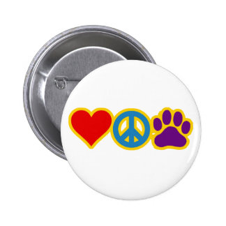 Love Peace Paw 2 Inch Round Button