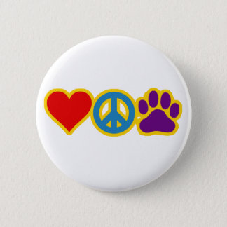 Love Peace Paw Pinback Button