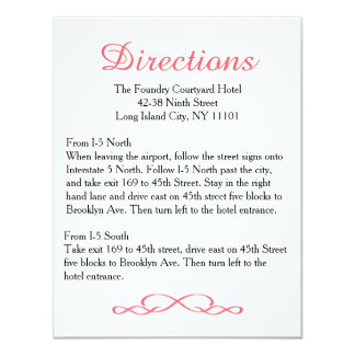 Love & Peace Pink Floral Wedding Directions Card