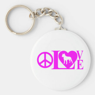 LOVE,PEACE,PIT BULL BASIC ROUND BUTTON KEYCHAIN