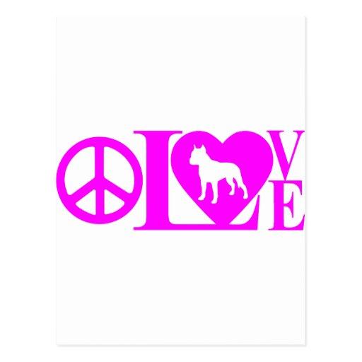 LOVE,PEACE,PIT BULL POSTCARD