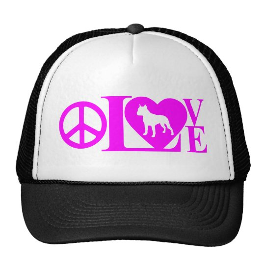 LOVE,PEACE,PIT BULL TRUCKER HAT