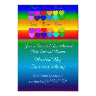 Love, Peace, Rainbows 3.5x5 Paper Invitation Card