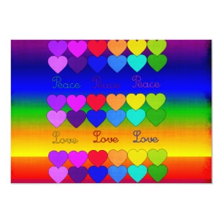 Love, Peace, Rainbows 5x7 Paper Invitation Card